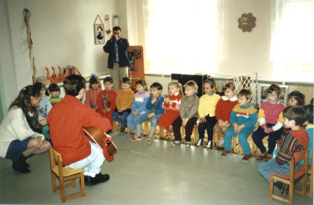 My debut at a kindergarten in Minsk.  Cute kids, but they didn't know the lyrics to ANYof my songs!